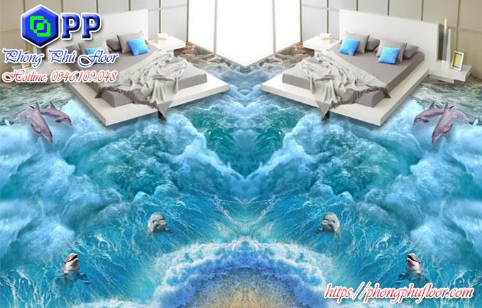 Sàn epoxy 3D mang lại một cảm giác trải nghiệm như thật trong phòng ngủ
