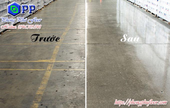 Trước và sau khi hoàn thiện việc mài sàn