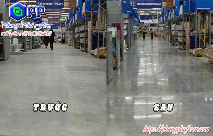Trước và sau khi mài sàn bê tông