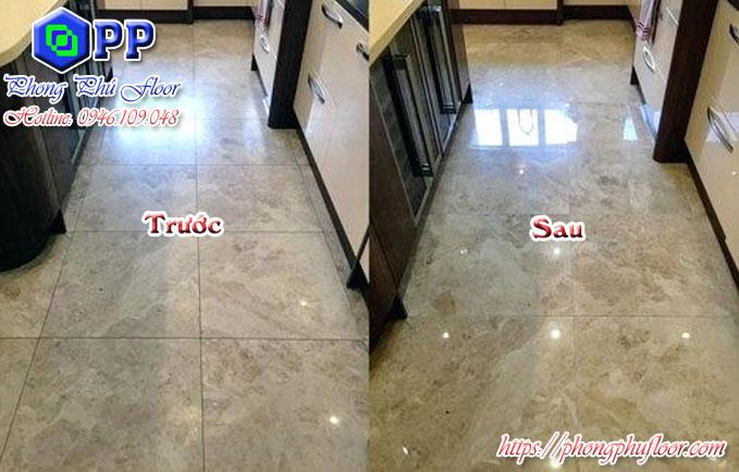 Trước và sau khi sử dụng dịch vụ đánh bóng sàn đá Granite tại đà nẵng của Phong Phú Floor