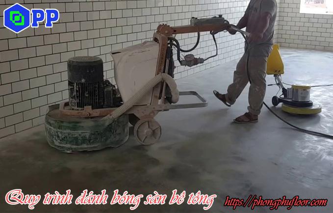 mài tạo độ mịn cho sàn bê tông trước khi tiến hành phủ hoá chất tăng cứng