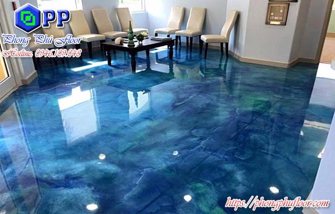 Sàn bê tông nhuộm màu 3d cực đẹp này thi sao?