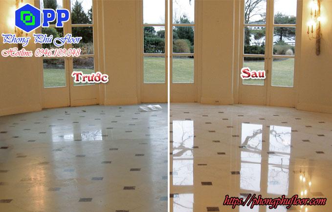 Trước và sau khi đánh bóng sàn đá tại Hà Nội | Phong Phú Floor